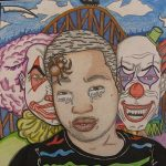 "Meadowbrook High student De'Andre Tatum won a Gold Key in mixed media for ""My Worst Fears."""