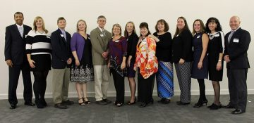 (left to right) Superintendent Marcus Newsome with teachers from Chesterfield County Public Schools who were winners or finalists for R.E.B. Awards for Teaching Excellence: Stephanie Cochrane, Mark Dillon, Sarah Jurewicz, Robert Benway, Pamela Hall, Kristen Reynolds, Kimberly Gianopoulos, Nancy Riddlemoser, Lauren Lineweaver, Amanda Crisafi, Ellen Faris and James Wright. Not pictured is Jessica White.