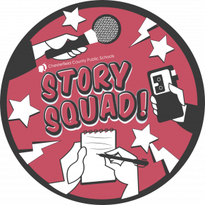 Story Squad logo. Round red log with microphone and tablet to depict a reporter interviewing you.