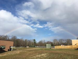 Rainbow over school campus