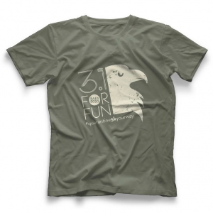 Grey t-shirt with logo on it.