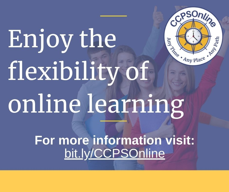 """Brochure with students cheering in background. Says; """"Enjoy the flexibility of online learning""""."""