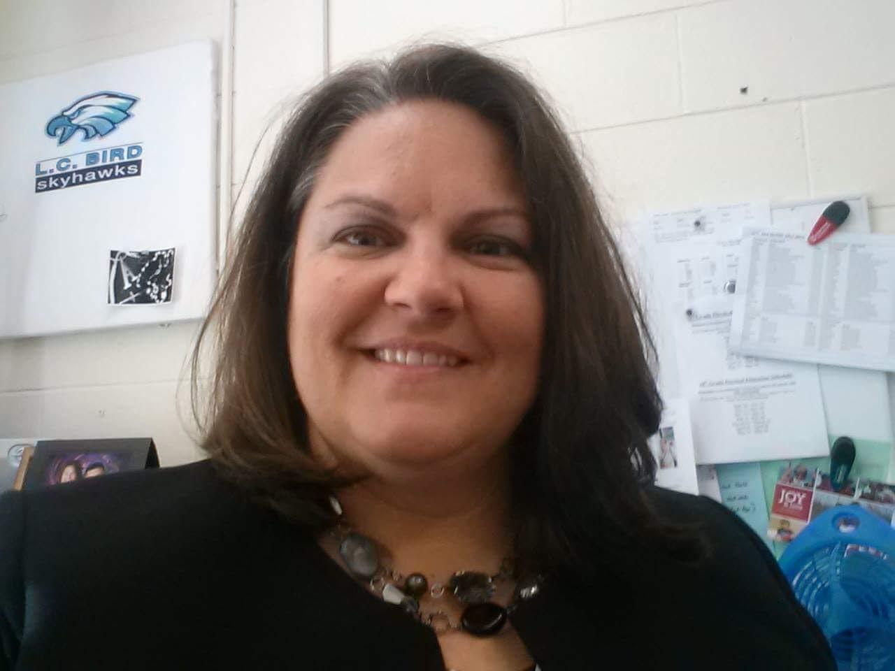 Selfie of Principal at her desk.