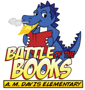Dragon holding book with Battle of the Books title.