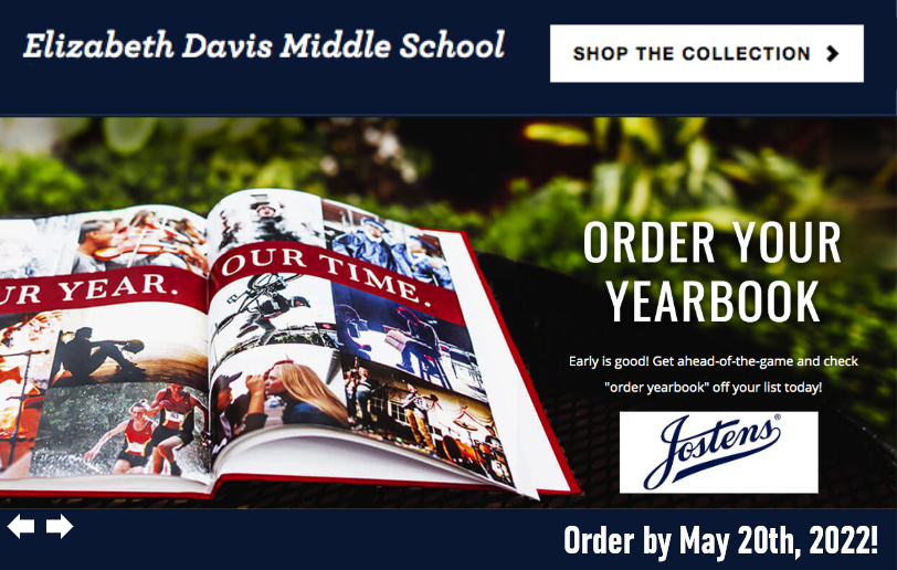 Infographic with photo of yearbook and order button.