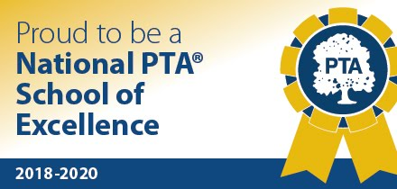 "PTA banner that says ""Proud to be a National PTA School of Excellence"""