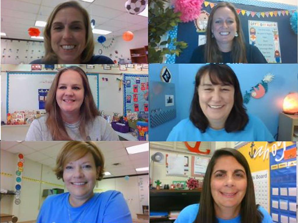 Six teachers on screenshot of a zoom meeting.