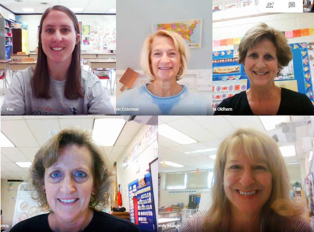 A screenshot of five teachers during a zoom call.