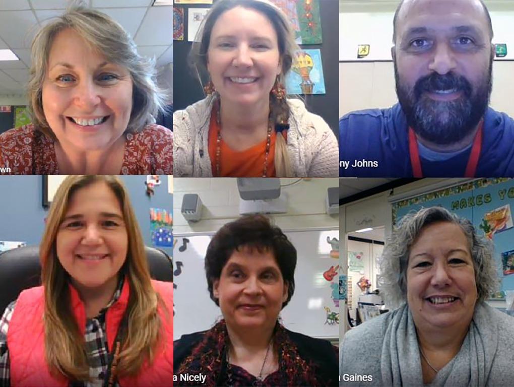 screenshot of 6 teachers in a zoom meeting.