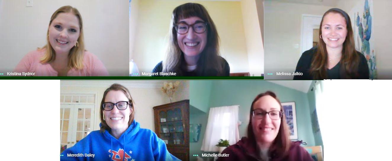 Screen shot of five teachers in a zoom call.