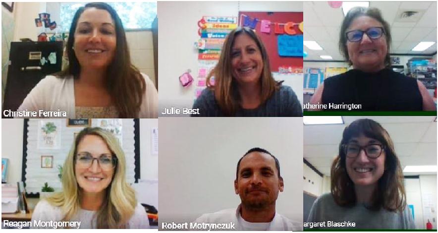 Screenshot of six teachers during a zoom meeting.