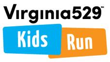 the marathon's logo which is their name Virginia 529 Kid's Run.