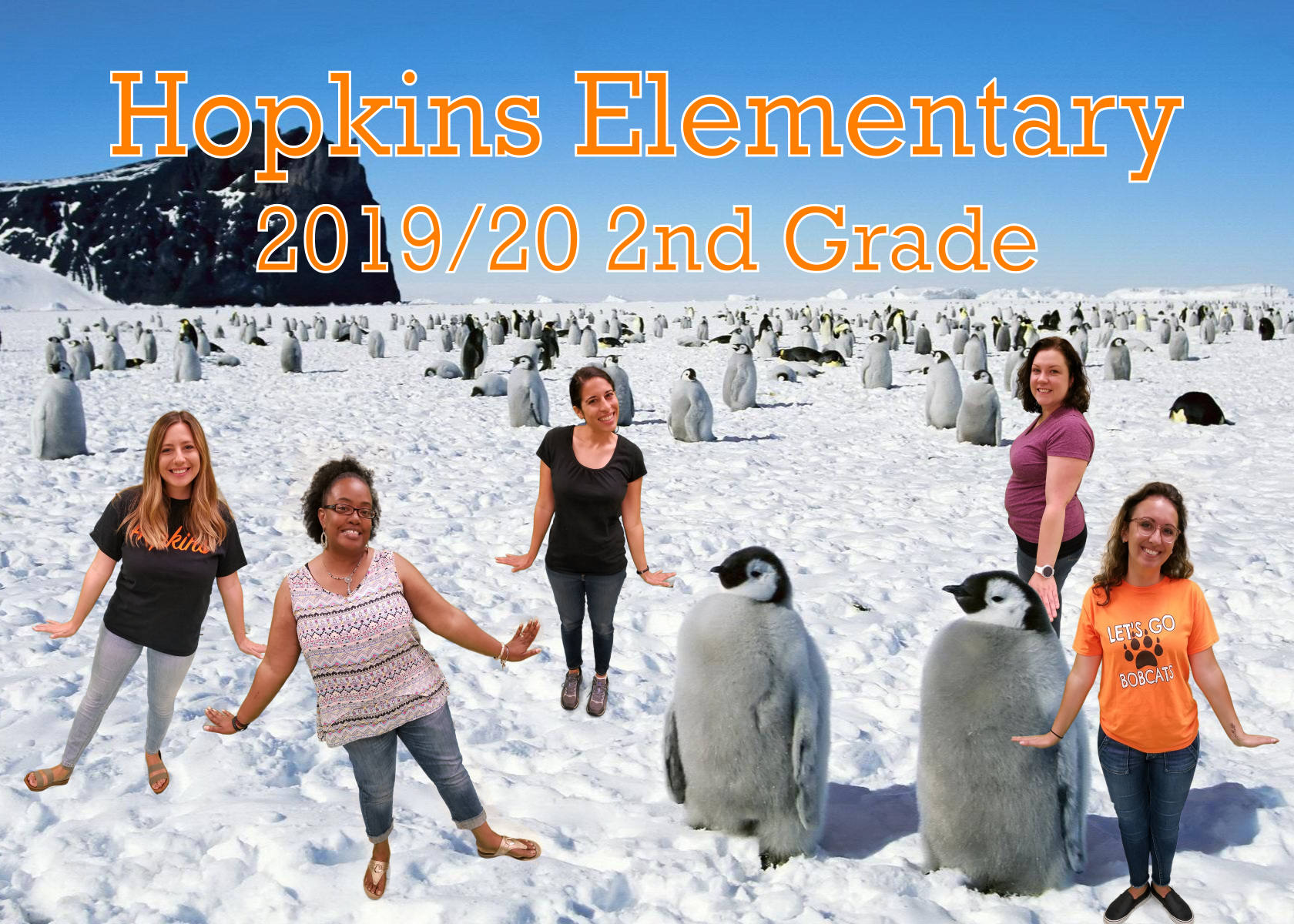 teachers on ice and snow backdrop with penguins