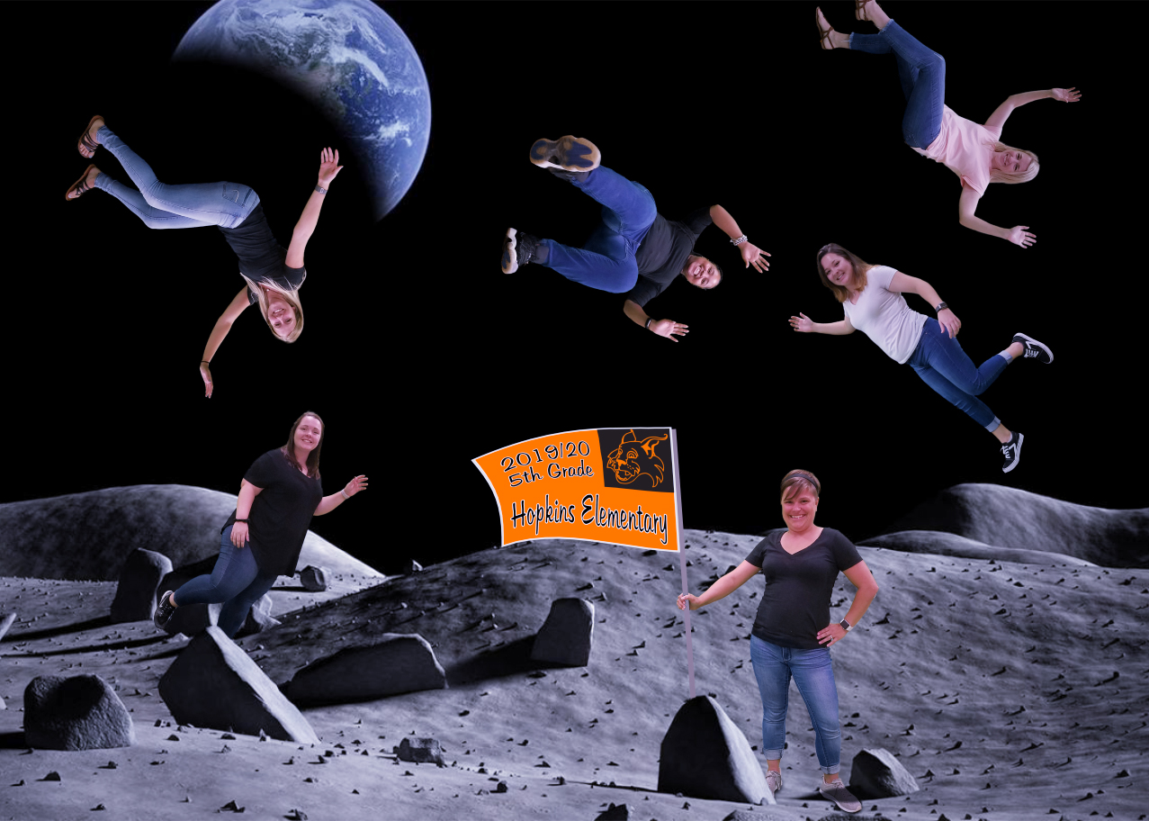 teachers floating on a space backdrop