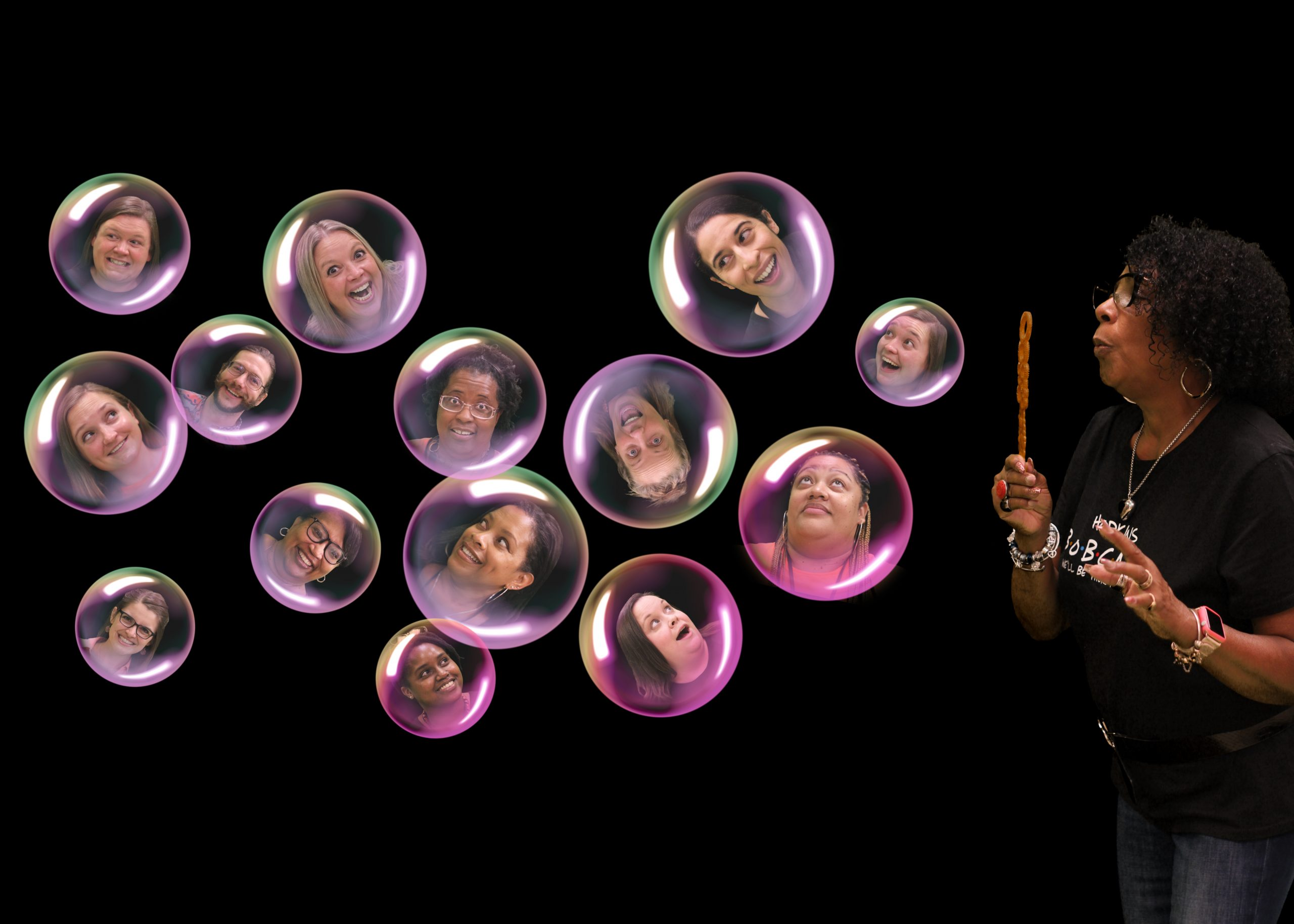 Teacher heads in bubbles.