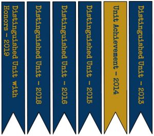 Flags listing unit's awards.
