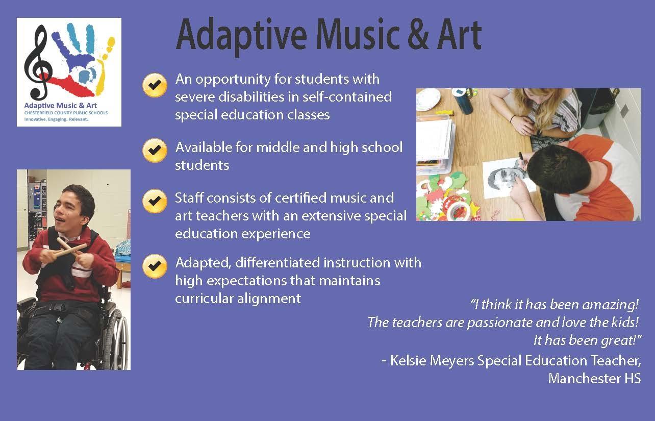 Infographic about adaptive arts program.