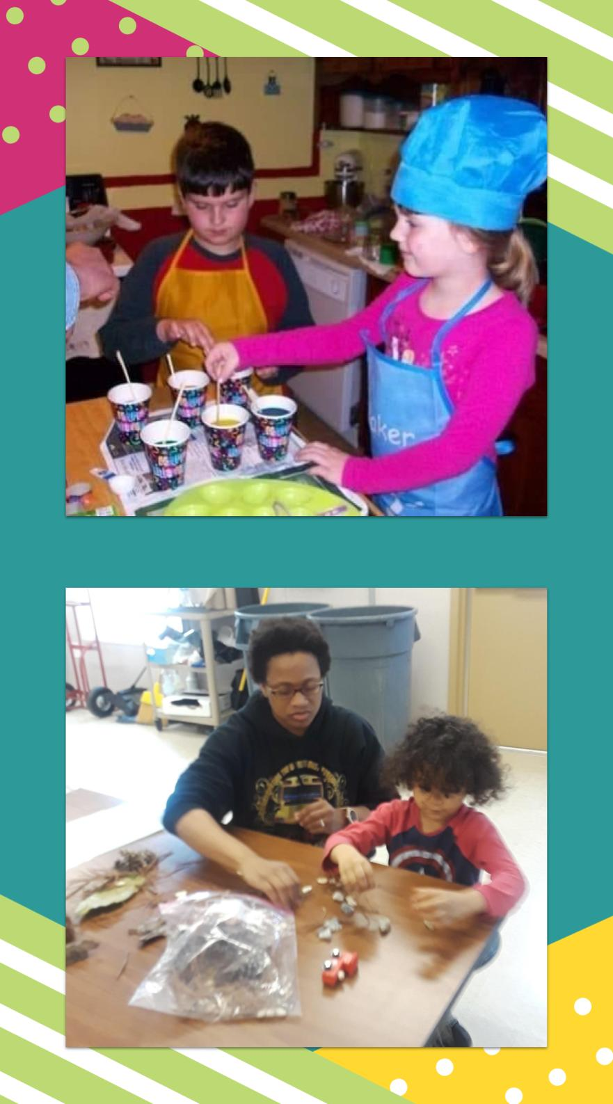 collage of students learning math