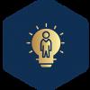 Blue logo with lightbulb inside in gold.