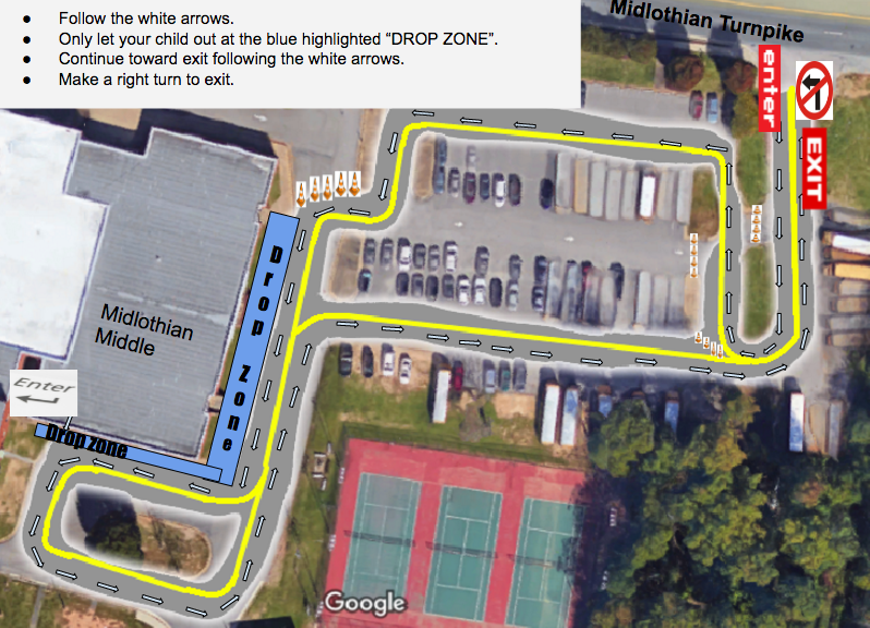 Map showing markers for where to drop off students.