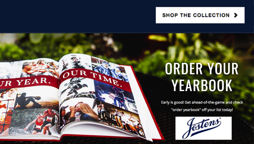 Graphic of open yearbook with an order button.