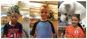 Three different photos of student in the library. One with a giant stuffed polar bear.
