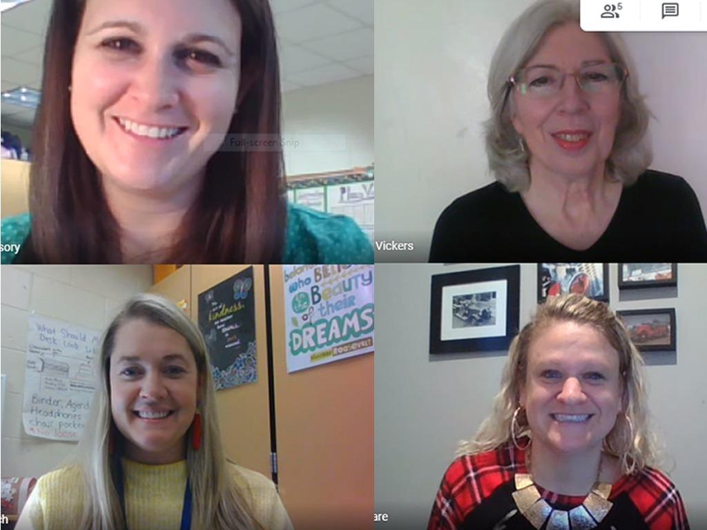 Screenshot of four teachers during a zoom meeting.