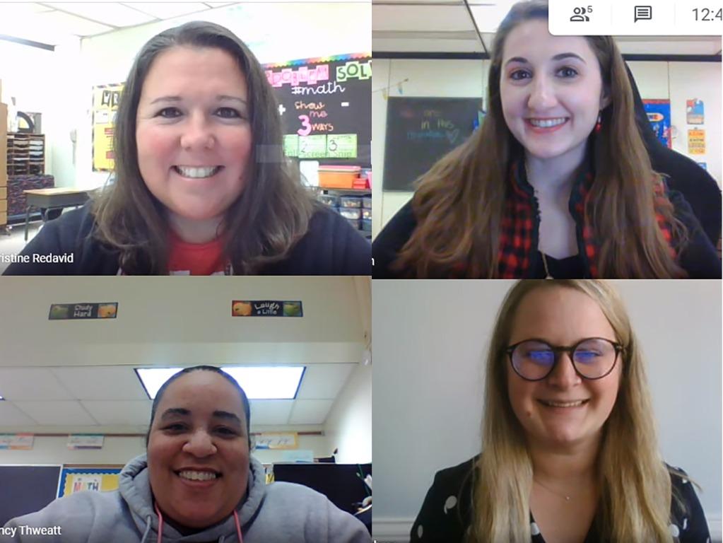 Screenshot of four teachers in zoom meeting.