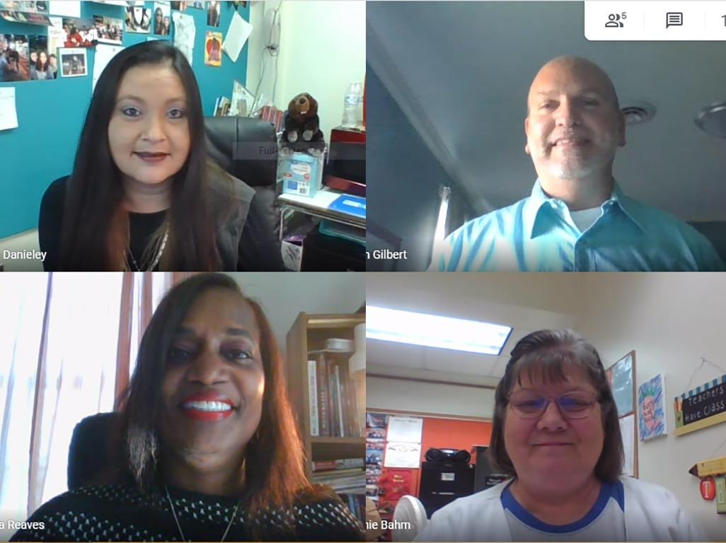 Screenshot of four teachers on a zoom meeting.