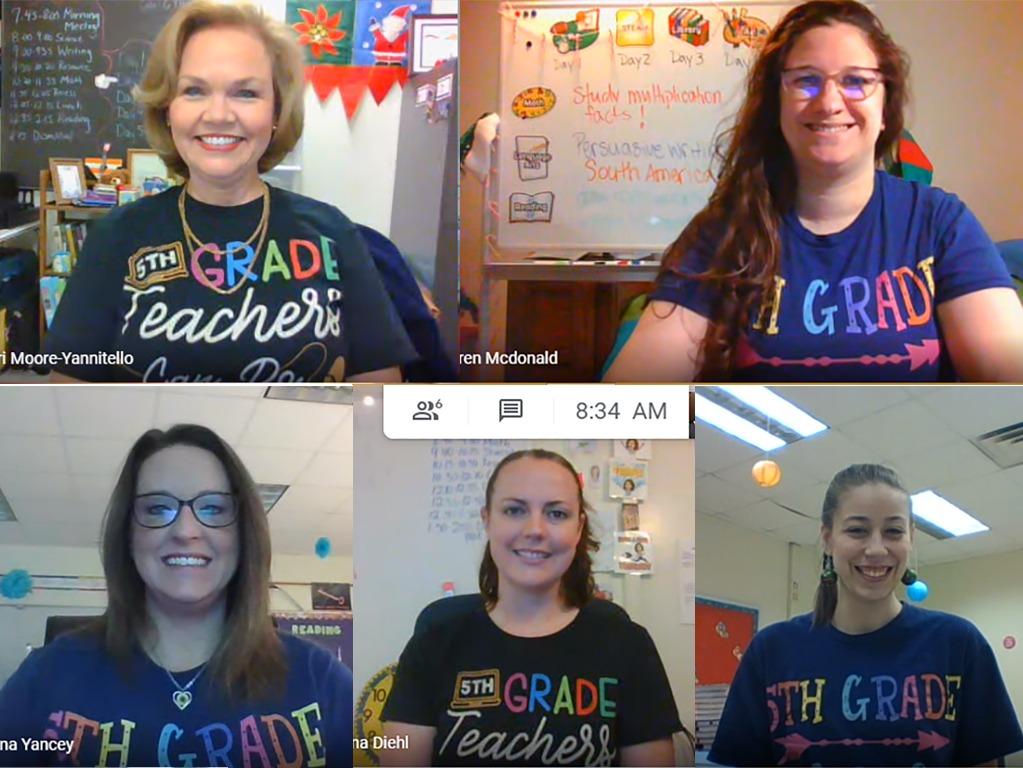 A screenshot of five teachers in a zoom meeting.