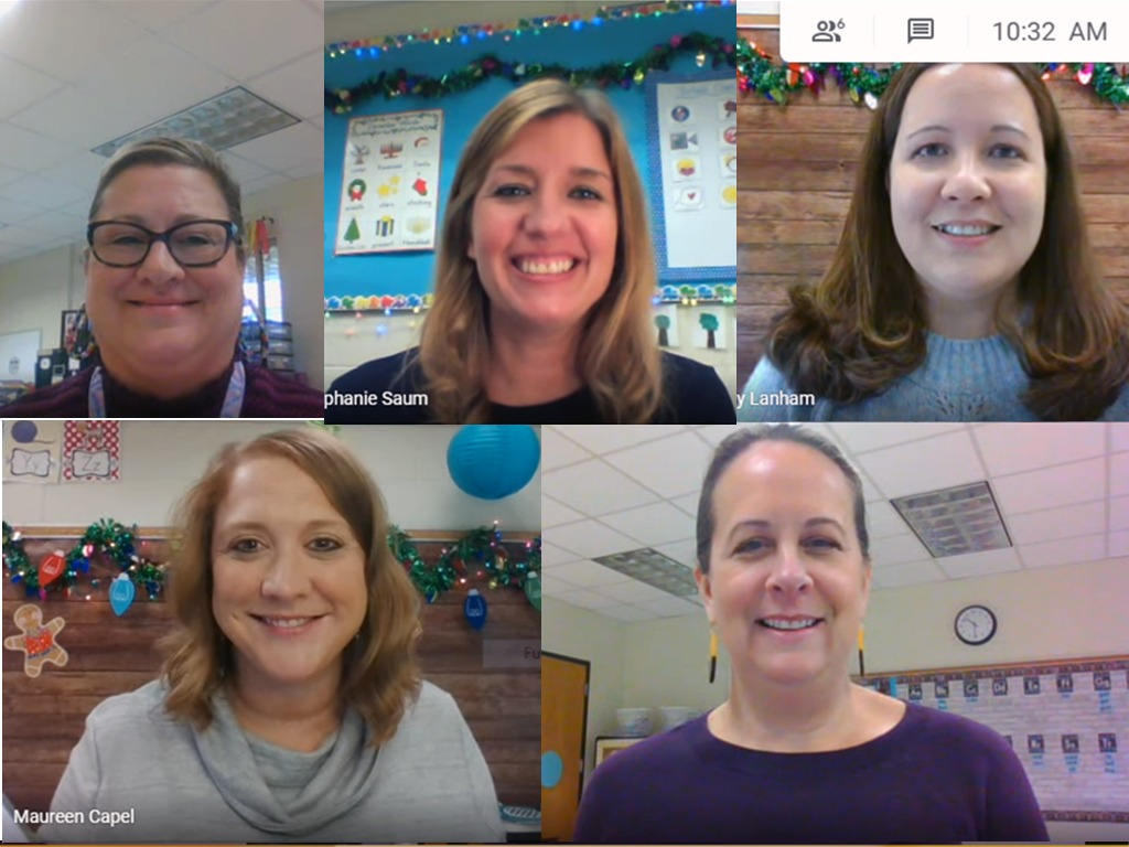 Screenshot of five teachers during a zoom call.
