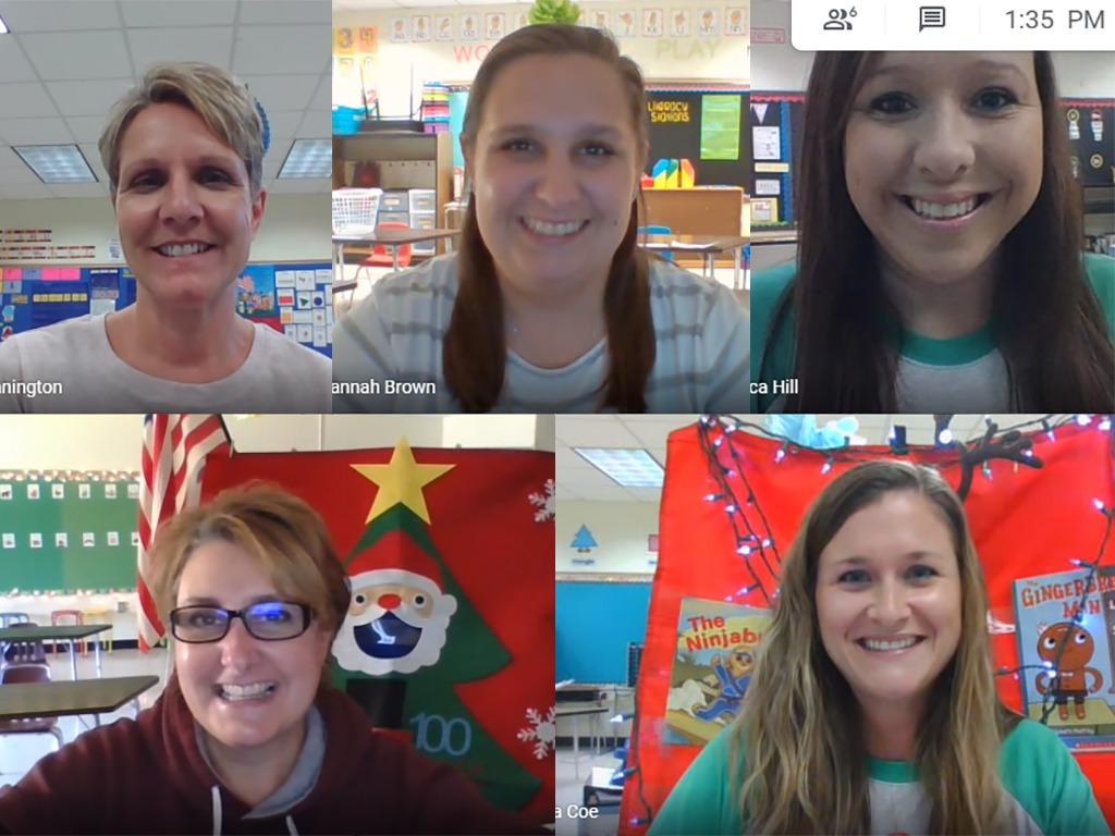 Screenshot of five teachers during a zoom meeting.