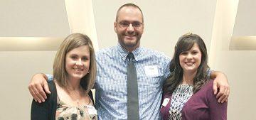 Beginning Teacher Award winners for Chesterfield County Public Schools: (left to right) Pamela Hooper, Jon Ferguson and Katelyn Bell.