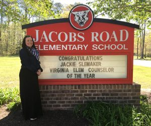 Photo shows Jackie Slemaker at Jacobs Road Elementary.