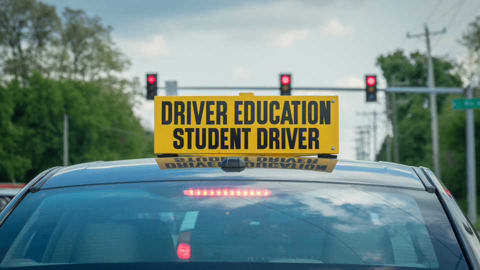 student driver sign on car