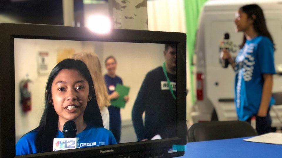 student on tv