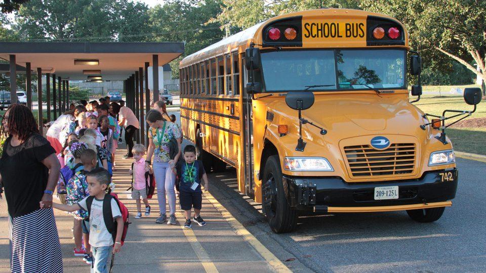 Kids at the bus loop
