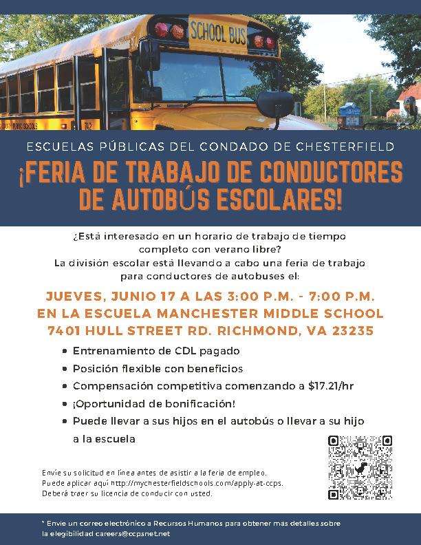 Bus Driver Job Fair flier - SPANISH